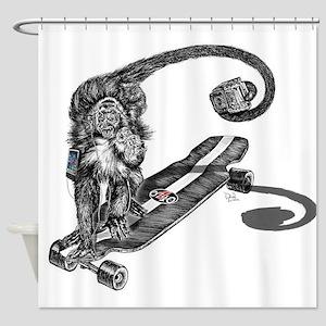 Simian Skateboarder Shower Curtain