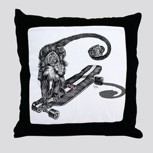 Simian Skateboarder Throw Pillow