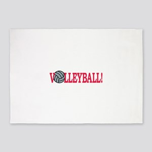Volleyball text 5'x7'Area Rug