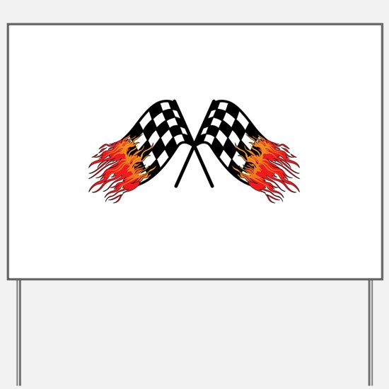 Hot Crossed Flags Yard Sign