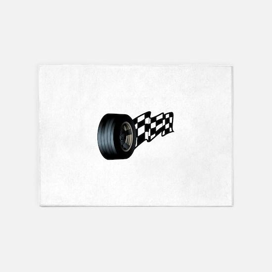 Tire with Flag 5'x7'Area Rug
