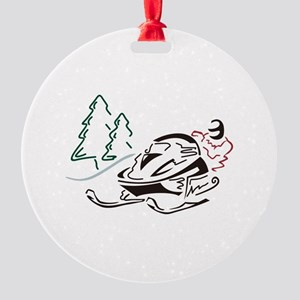 Snowmobiler Pine Trees Ornament