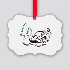 Snowmobiler Pine Trees Ornament