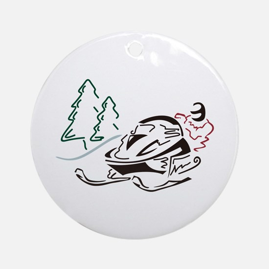 Snowmobiler Pine Trees Ornament (Round)