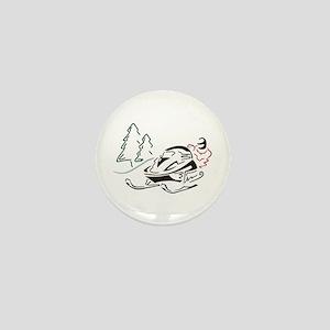 Snowmobiler Pine Trees Mini Button