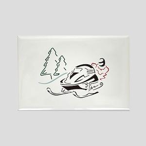 Snowmobiler Pine Trees Magnets