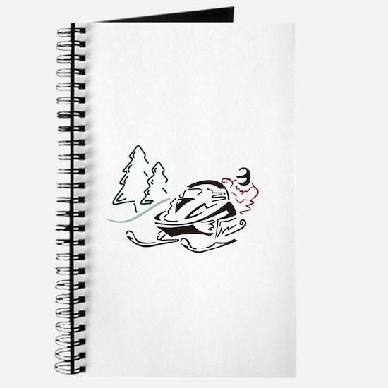 Snowmobiler Pine Trees Journal
