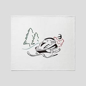 Snowmobiler Pine Trees Throw Blanket