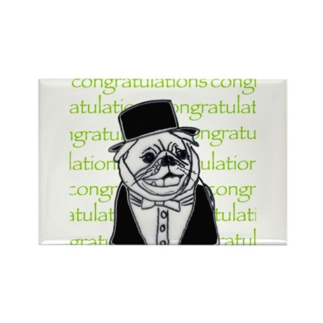 Dog in top hat Rectangle Magnet