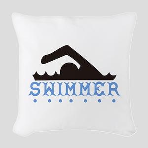 Swimmer Woven Throw Pillow