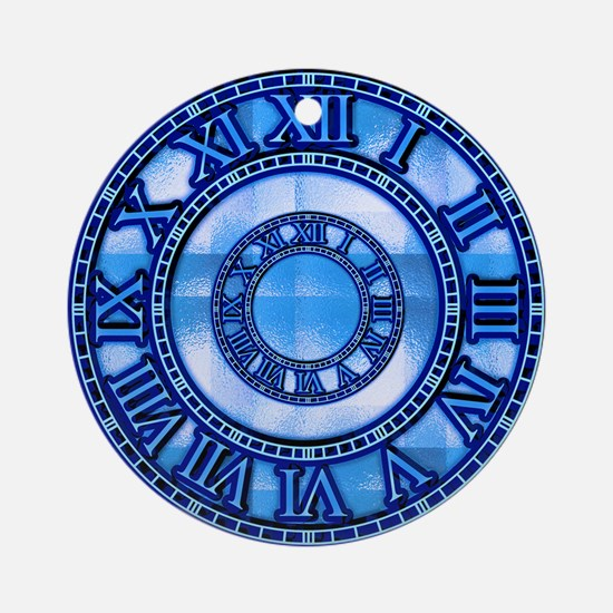 Neon Blue Roman Ornament (Round)