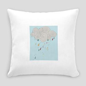 Blue Sky Rain Cloud Illustration Everyday Pillow