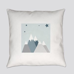 Snowy Mountains Stars Everyday Pillow