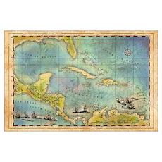 Caribbean Pirate + Treasure Map 1660 (Colored) Poster