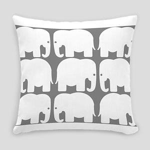 White Elephants Silhouette Everyday Pillow