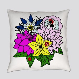 Lady Bug Flower Bed Everyday Pillow