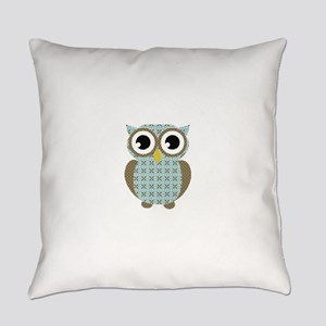 Blue Mod Print Owl Everyday Pillow