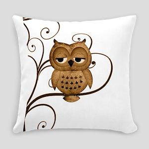 Brown Swirly Tree Owl Everyday Pillow