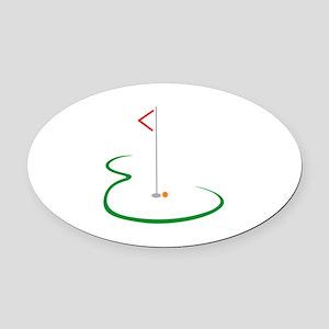 Golf Green Oval Car Magnet