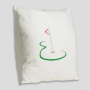 Golf Green Burlap Throw Pillow