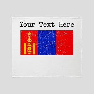 Mongolia Flag (Distressed) Throw Blanket