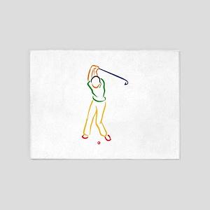 Golfer Outline 5'x7'Area Rug
