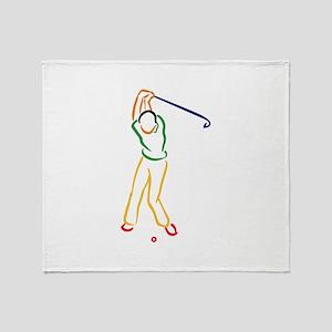 Golfer Outline Throw Blanket