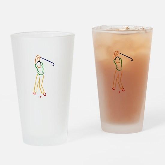 Golfer Outline Drinking Glass