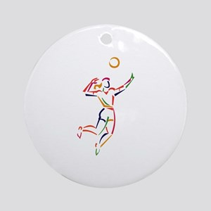 Female Volleyball Player Ornament (Round)