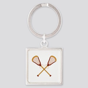 Crossed Lacrosse Sticks Keychains