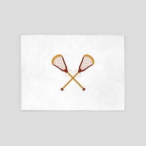 Crossed Lacrosse Sticks 5'x7'Area Rug