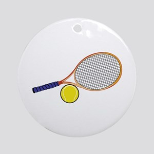 Tennis Racquet and Ball Ornament (Round)