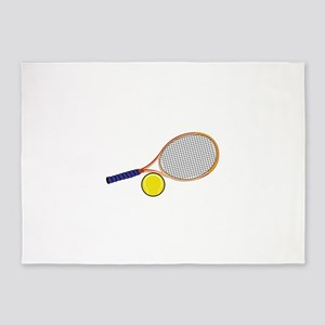 Tennis Racquet and Ball 5'x7'Area Rug