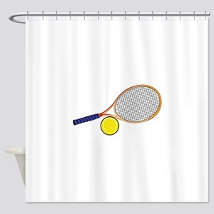 Tennis Racquet and Ball Shower Curtain