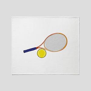 Tennis Racquet and Ball Throw Blanket