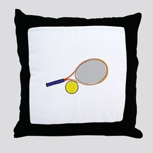 Tennis Racquet and Ball Throw Pillow