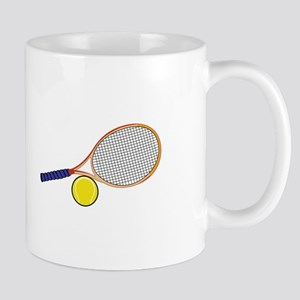 Tennis Racquet and Ball Mugs