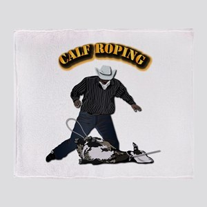 Calf Roping-2 with Text Throw Blanket