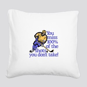 100% Of The Shots Square Canvas Pillow