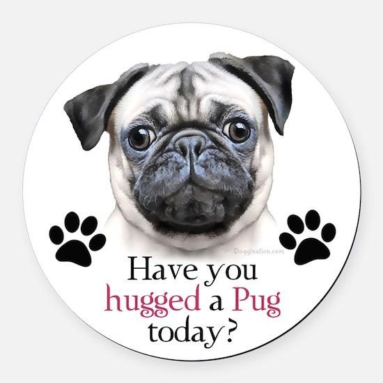 Pug Hug Round Car Magnet