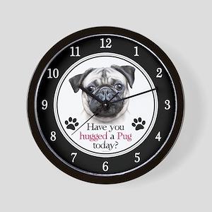 Pug Hug Wall Clock