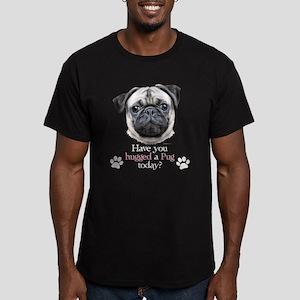 Pug Hug Men's Fitted T-Shirt (dark)