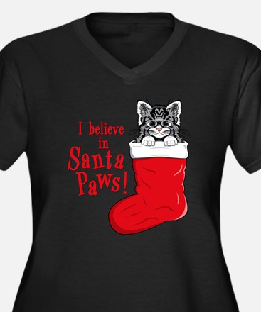 Santa Paws Kitty Women's Plus Size V-Neck Dark T-S