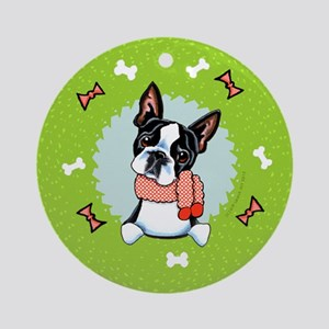 Boston Terrier Christmas Wreath Ornament (Round)