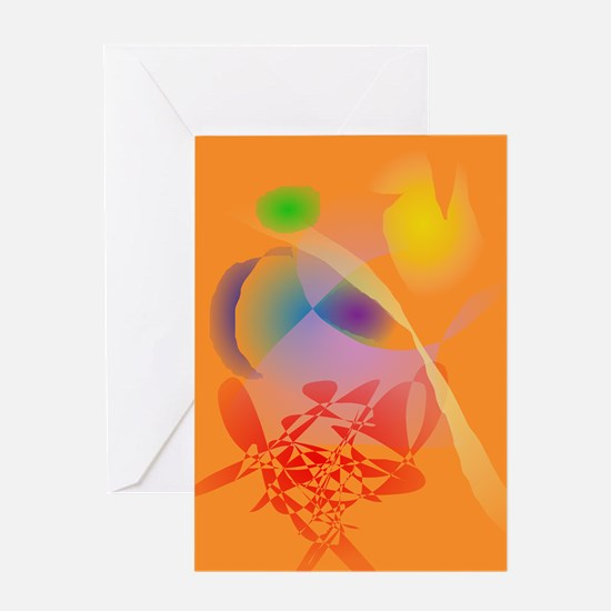 Orange Composition Greeting Cards