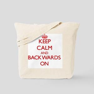 Keep Calm and Backwards ON Tote Bag