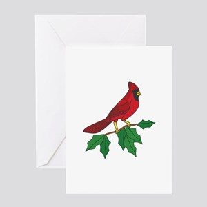 Cardinal On Holly Greeting Cards