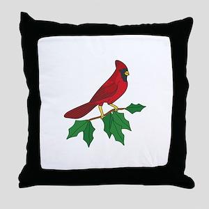 Cardinal On Holly Throw Pillow