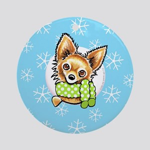 LH Chihuahua Let it Snow Ornament (Round)