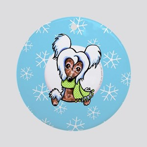Chinese Crested Let it Snow Ornament (Round)